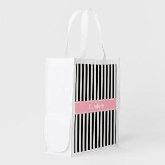 Black White Stripe Pink Name Monogram Reusable Grocery Bag