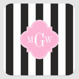 Black White Stripe Pink Quatrefoil 3 Monogram Square Sticker