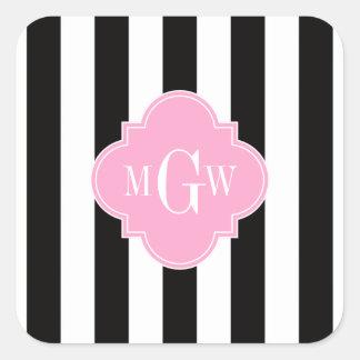 Black White Stripe Pink Quatrefoil 3 Monogram Stickers