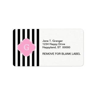Black White Stripe, Pink Quatrefoil Monogram Custom Address Label
