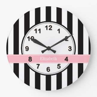 Black White Stripe Pink Ribbon Name Monogram Large Clock