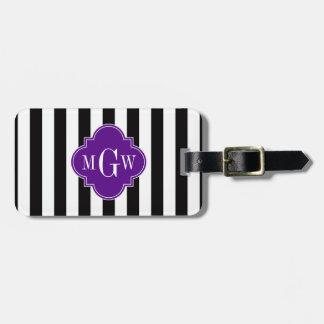 Black White Stripe Purple Quatrefoil 3 Monogram Tag For Luggage