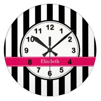 Black White Stripe Raspberry Ribbon Name Monogram Large Clock