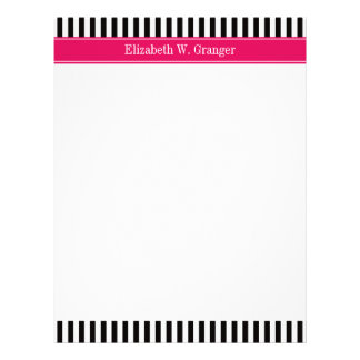 Black White Stripe Raspberry Ribbon Name Monogram Letterhead