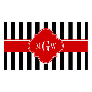 Black White Stripe Red Quatrefoil 3 Monogram Business Card