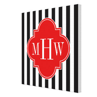 Black White Stripe Red Quatrefoil 3 Monogram Canvas Print