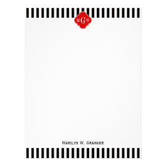 Black White Stripe Red Quatrefoil 3 Monogram Letterhead