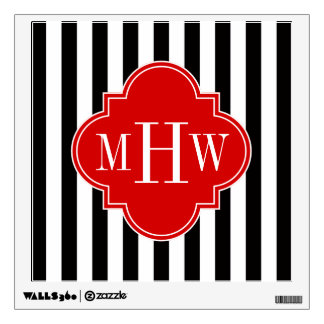 Black White Stripe Red Quatrefoil 3 Monogram Wall Decal