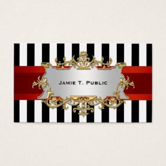 Black White Stripe, Red Ribbon, Gold Framed Label Business Card