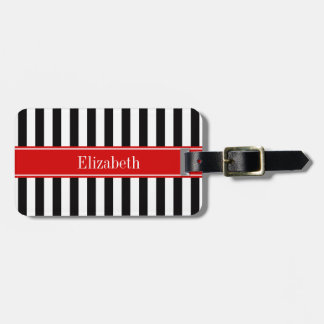 Black White Stripe Red Ribbon Name Monogram Bag Tag