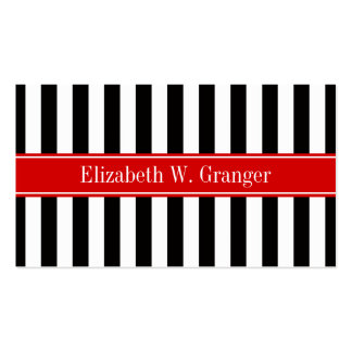 Black White Stripe Red Ribbon Name Monogram Business Card