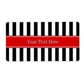 Black White Stripe Red Ribbon Name Monogram Label