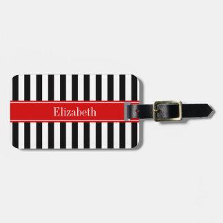 Black White Stripe Red Ribbon Name Monogram Luggage Tag