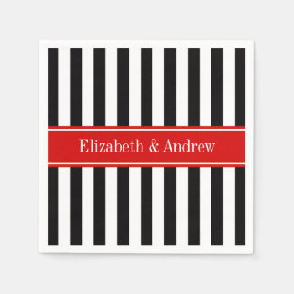 Black White Stripe Red Ribbon Name Monogram Napkin