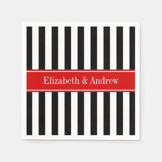 Black White Stripe Red Ribbon Name Monogram Paper Napkin