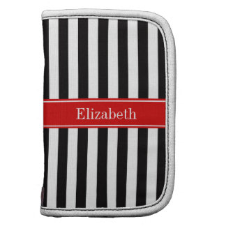 Black White Stripe Red Ribbon Name Monogram Planners