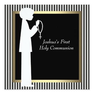 Black White Stripe Rosary Boys First Communion Card
