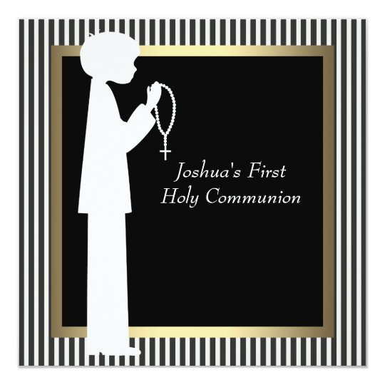 Black White Stripe Rosary Boys First Communion Card