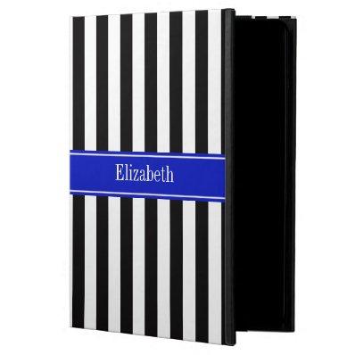 Black White Stripe Royal Blue Ribbon Name Monogram iPad Air Cover
