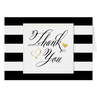 Black & White Stripe Shower Thank You Note