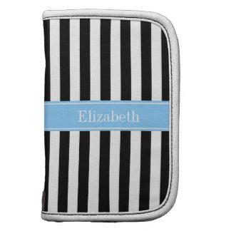 Black White Stripe Sky Blue Name Monogram Planner