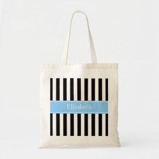 Black White Stripe Sky Blue Name Monogram Tote Bag
