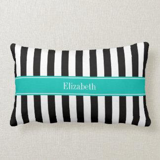 Black White Stripe Teal Ribbon Name Monogram Throw Pillow