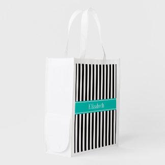Black White Stripe Teal Ribbon Name Monogram Reusable Grocery Bags