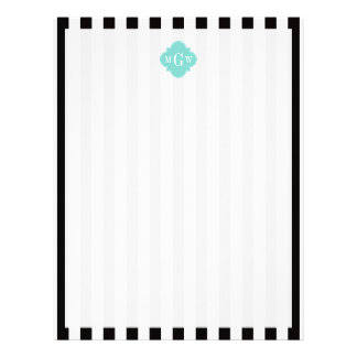 Black White Stripe Turquoise Quatrefoil 3 Monogram Letterhead