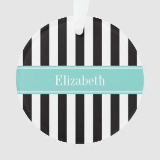 Black White Stripe Turquoise Ribbon Name Monogram