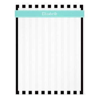 Black White Stripe Turquoise Ribbon Name Monogram Letterhead