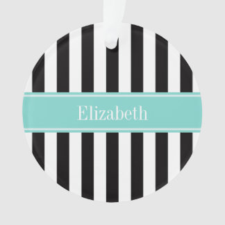 Black White Stripe Turquoise Ribbon Name Monogram Ornament