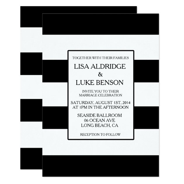 black & white stripe wedding invitation   zazzle, Wedding invitations