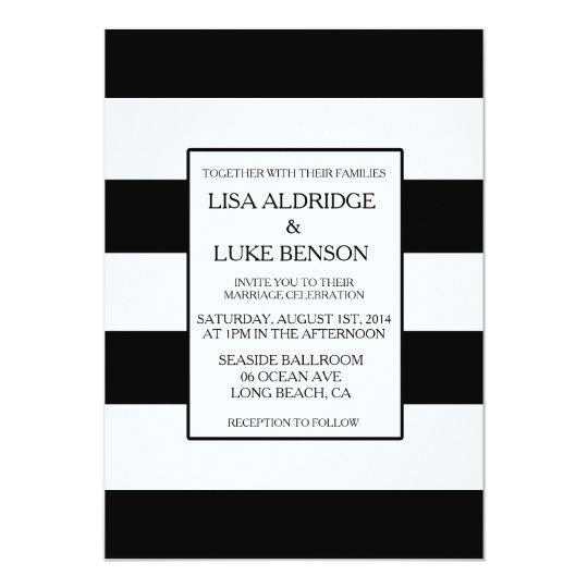 Black U0026 White Stripe Wedding Invitation