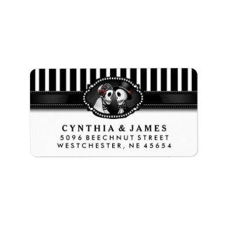 Black White Stripe Wedding Skeletons Address Label