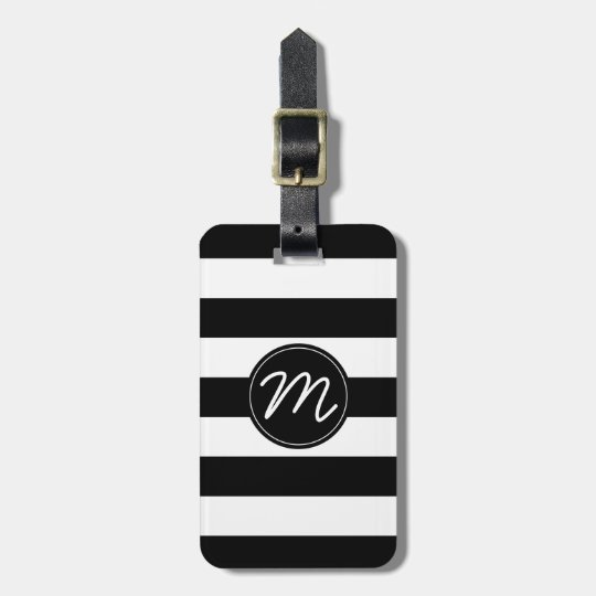 Black Amp White Stripe With Black Monogram Luggage Tag