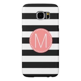Black & White Stripe with Coral Monogram Samsung Galaxy S6 Cases