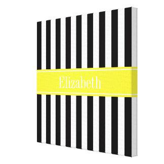 Black White Stripe Yellow Name Monogram Canvas Print