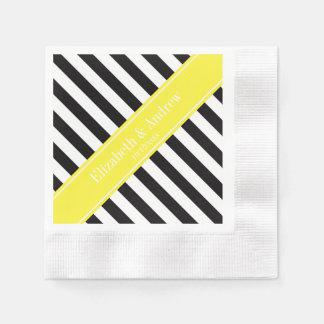 Black White Stripe Yellow Name Monogram Coined Cocktail Napkin