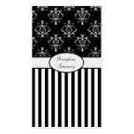 Black & White Striped Baroque Business Card Template