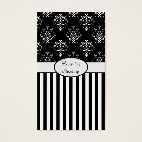 Black & White Striped Baroque Business Card
