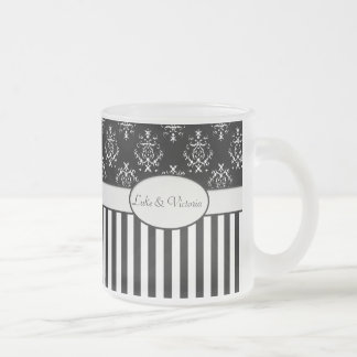 Black & White Striped Baroque Frosted Glass Coffee Mug