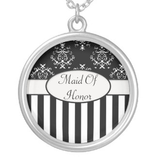 Black & White Striped Baroque Party Favor Silver Plated Necklace