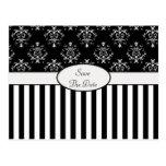 Black & White Striped Baroque Post Card