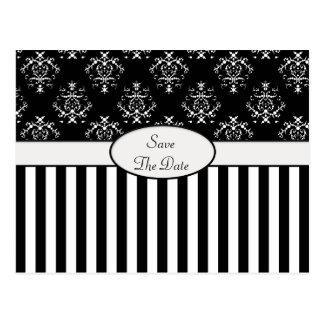 Black & White Striped Baroque Postcard