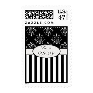 Black & White Striped Baroque RSVP Postage