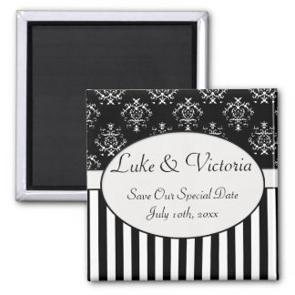 Black & White Striped Baroque Save The Date Magnet