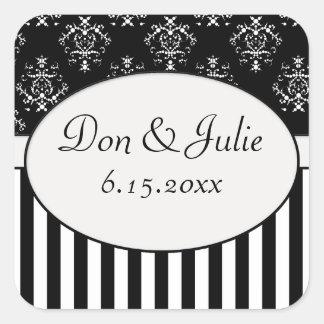 Black & White Striped Baroque Square Stickers