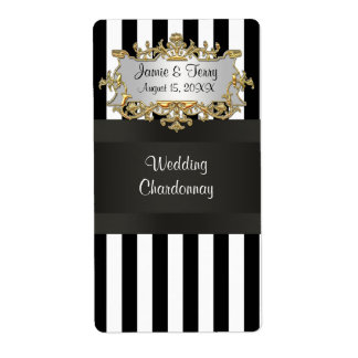 Black White Striped Black Ribbon Wine Label