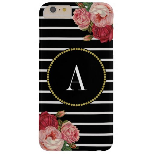Black White Striped Chic Floral Gold Monogram Barely There iPhone 6 Plus Case